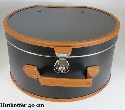 Hutkarton Hutbox Hutkoffer Hutschachtel 40 cm Hut schwarz / braun NEU