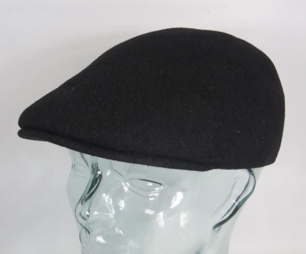 KANGOL Wool 507 SEAMLESS Flatcap Schwarz mit Logo in Gold Wolle Mütze Cap Gatsby Neu