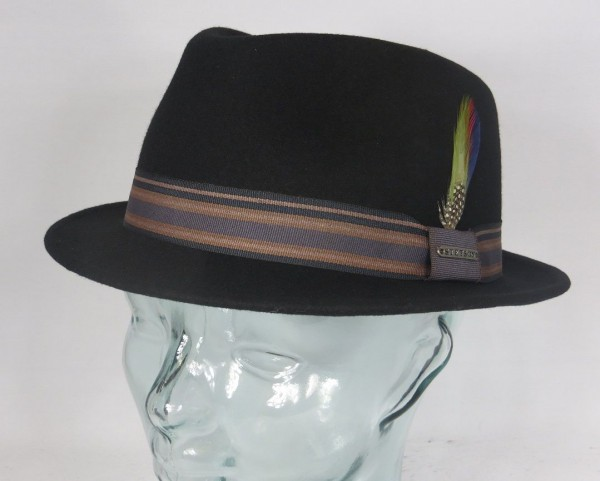 STETSON Trilby Hut OVIEDO Herrenhut Wollhut klein Hüte schwarz Wollfilz Hat Neu