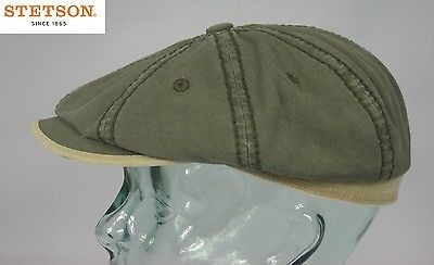 STETSON HATTERAS Canvas Baumwolle Mütze Kappe Flatcap Cap Schiebermütze khaki S