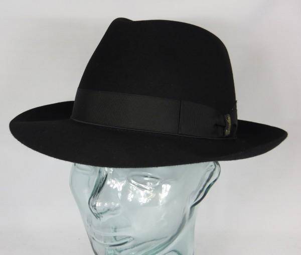 Origi. BORSALINO HUT Qualita Superiore Haarfilz schwarz Fedora Bogart Hat Neu