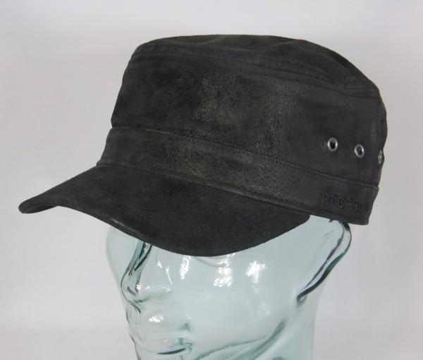 STETSON Leder Army Kuba Cap Mütze Leather pigskin schwarz Ledermütze 7497105 NEU