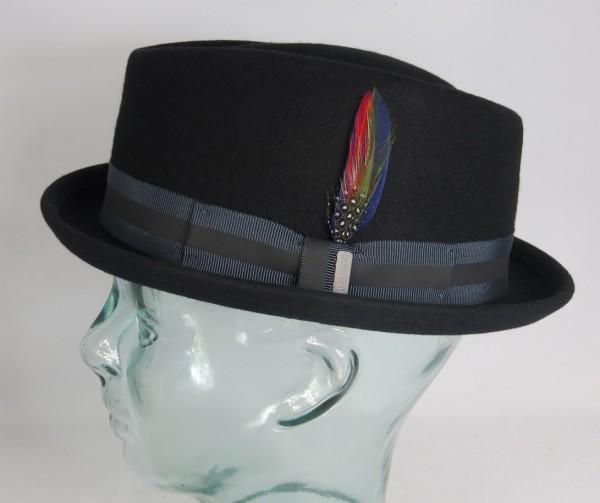 STETSON Diamond Pork Pie Hut Wollfilz schwarz Woolfelt Trilby Player Hat 1338104
