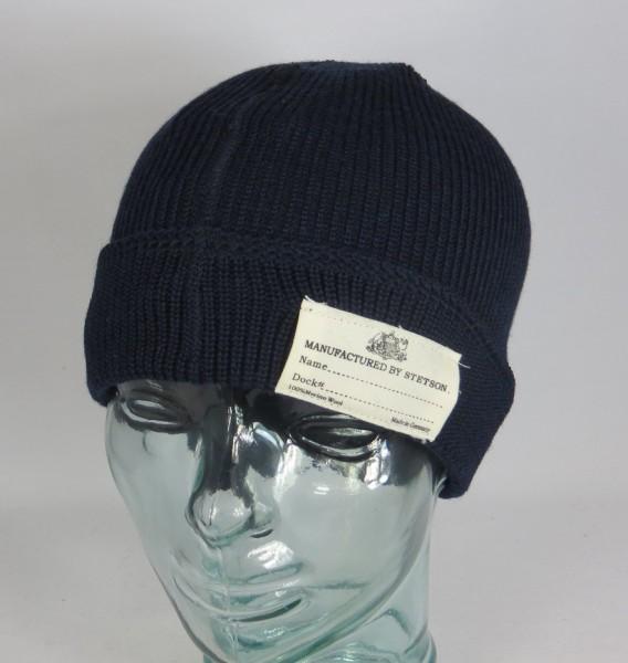 STETSON Beanie Watch Cap Strickmütze Pudel Woll Merino Mütze blau 8599319 Neu