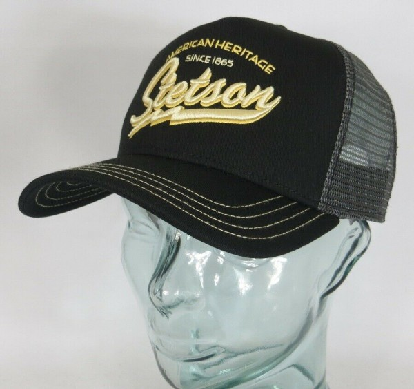 STETSON Trucker Cap Mesh Netz Kappe BASECAP SNAPBACK Mütze schwarz 7751171 NEU