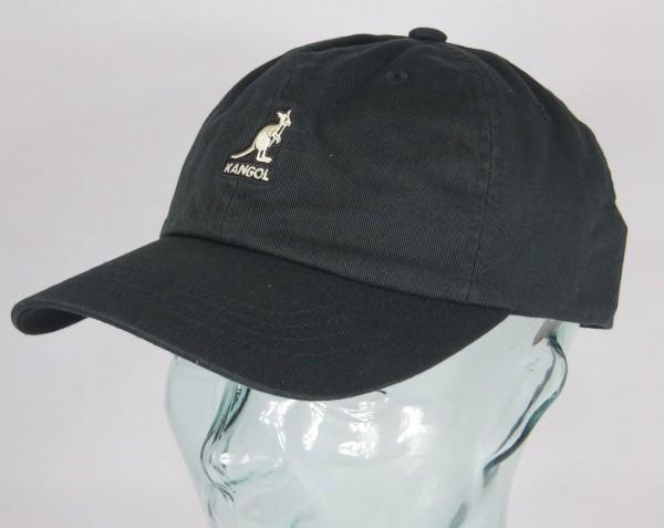 KANGOL WASHED BASEBALL CAP Cotton Basecap Baumwolle Mütze schwarz Basecap Neu