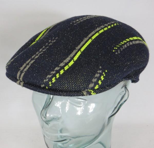 KANGOL Glitched 504 Flatcap Ivy Cap Golfcap Stripe Schieber Mütze blau NEU