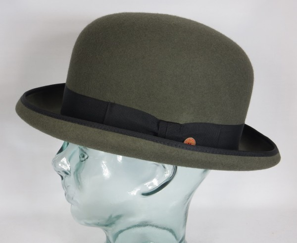MAYSER CONNOR MELONE BOWLER Hut Derby Hat grau Wollfilz Neu