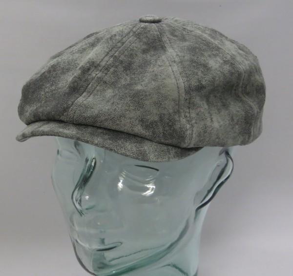 STETSON LEDER HATTERAS Flatcap Cap Mütze Schiebermütze Pigskin grau 6847102 NEU