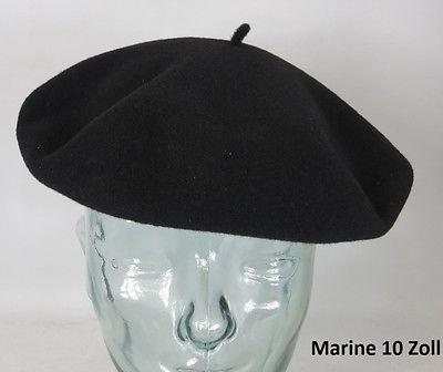 """CHANTACO Baskenmütze Barret 10"""" groß Baske Herrenbaske Marine 10 Zoll Neu"""