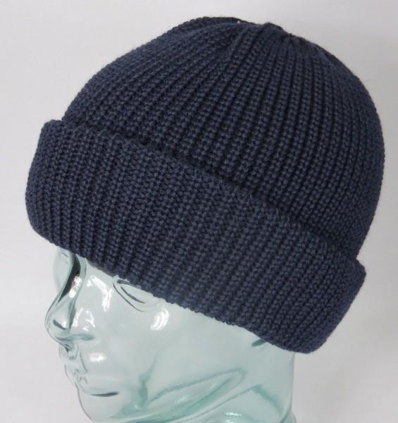 BALKE Strickmütze Fischerpudel 100% Schurwolle blau große Form Mütze Neu