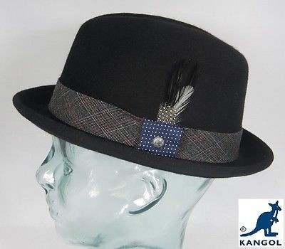KANGOL TWEED PLAYER Pork Pie Trilby Hut schwarz Porkpie Wollfilz Wool Hat NEU