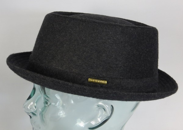 STETSON Athens Wool Pork Pie Hut Porkpie Hat Trilby Winterhut Wolle anthrazit NEU
