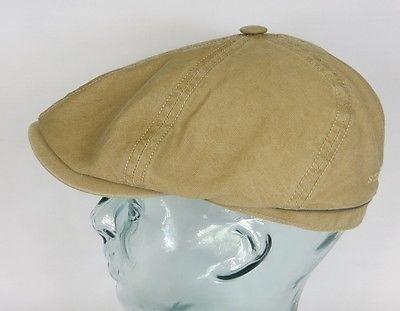 STETSON BROOKLIN Cotton Linen Mütze Flatcap Schiebermütze 6-Panel Cap Beige NEU
