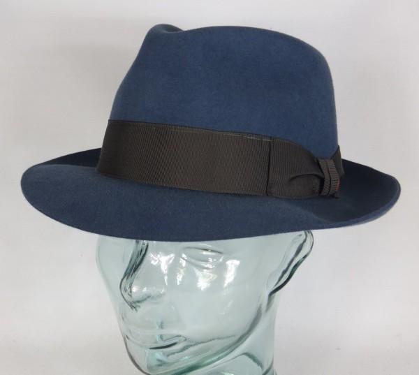 Eleganter MAYSER Herren HUT CITY blau Haarfilz Fedora Bogart Neu inkl. Karton