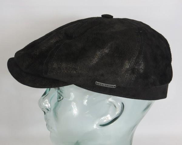 STETSON Leder 6-Panel Cap Flatcap pigskin Schieber Mütze schwarz 6647103 NEU