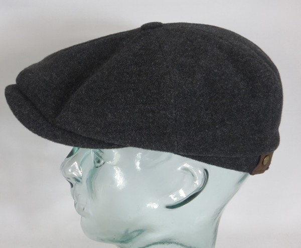 STETSON HATTERAS Mütze Flatcap Schiebermütze Wolle anthrazit Cap 6840101 Neu