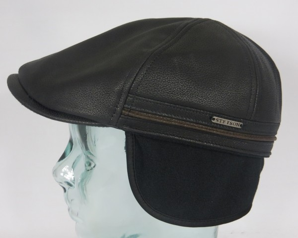 STETSON DUCK CAP COWHIDE Leder Flatcap Mütze mit Ohrenklappen Earflaps Neu