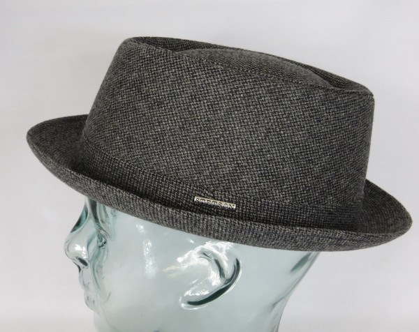 STETSON Athens Wool Pork Pie Hut Porkpie Hat Winterhut Wolle grau 1690101 NEU