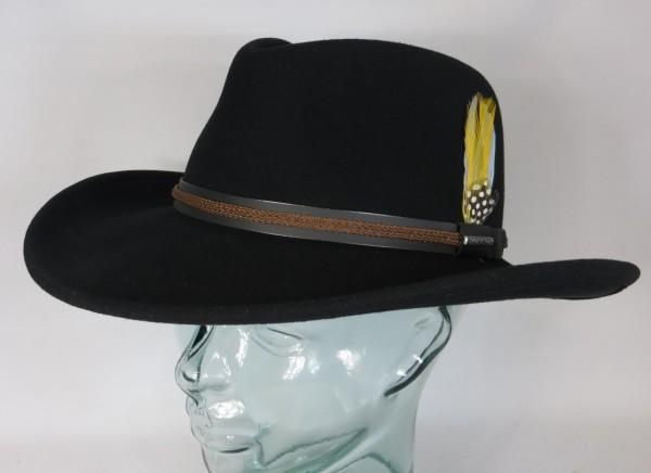 STETSON Western Cowboy Hut Wollfilz schwarz Outdoor Trecking Hat 3598001 Neu