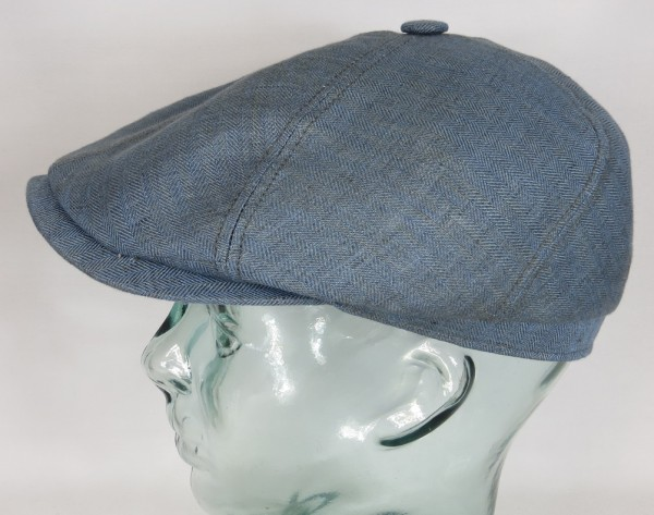 STETSON BROOKLIN Leinen Mütze Flatcap Schiebermütze 6-Panel Cap blau 6643501 NEU
