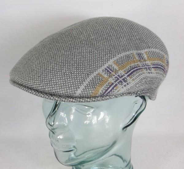 KANGOL PLAID STRIPE 504 Flatcap Ivy Cap grau Wintermütze Golfcap Mütze NEU