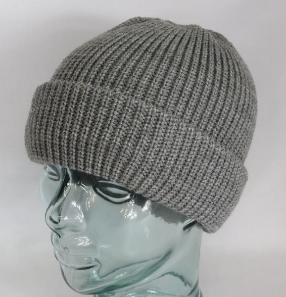 BALKE Strickmütze Fischerpudel 100% Schurwolle grau große Form Mütze Beanie Neu