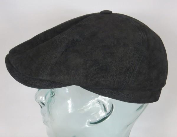 STETSON Leder 6-Panel Cap Flatcap pigskin Mütze Ledermütze schwarz 6647102 NEU