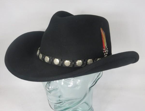 STETSON HACKBERRY Western Hut Cowboyhut Wollfilz schwarz Cowboy Hat 3598102 NEU