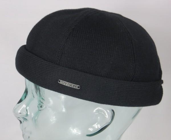 STETSON Docker Mütze Cotton Knit Skullcap Sailor Cap Wintermütze schwarz 8811101 NEU