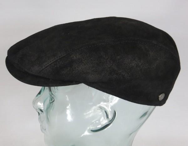 LIERYS Leder Flatcap Ivy Cap schwarz Schiebermütze Leather Schirm Mütze Cap NEU